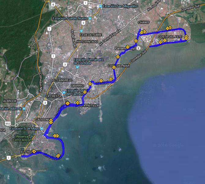 Ruta de la maratón 42KM